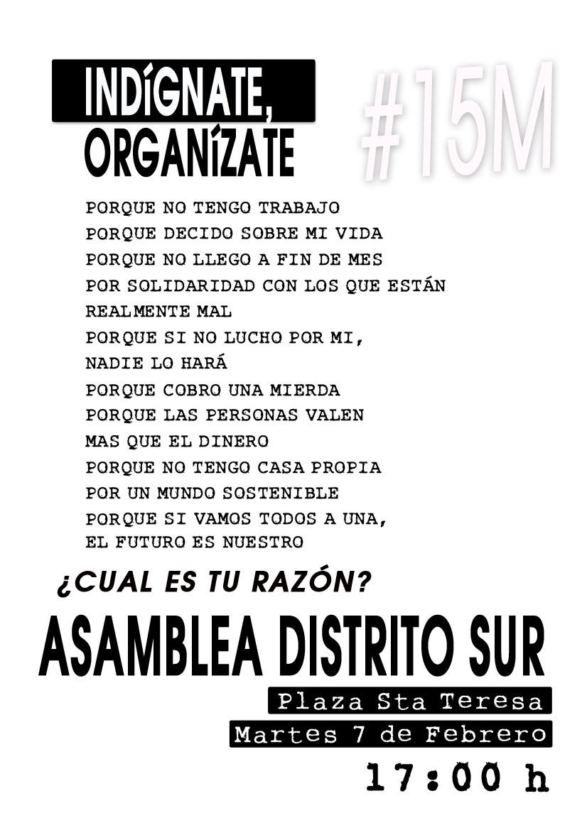 Cartel 15M Distrito Sur