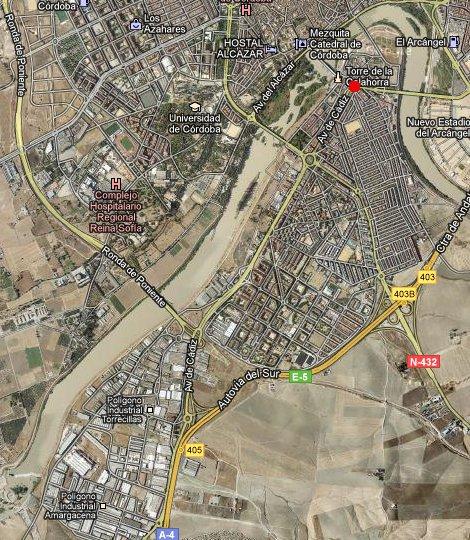 Vista aerea del Distrito Sur, incluidos los poligonos industriales (Goole-maps)